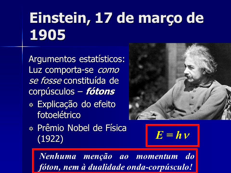 Einstein, 17 de março de 1905 Argumentos estatísticos: Luz comporta-se como se fosse constituída de corpúsculos – fótons Y Explicação do efeito fotoel