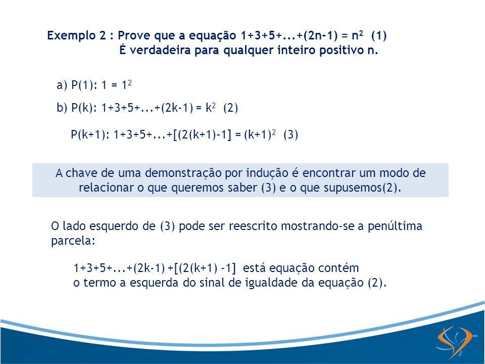 Exemplo 2 : Prove que a equação 1+3+5+...+(2n-1) = n 2 (1) É verdadeira para qualquer inteiro positivo n. a) P(1): 1 = 1 2 b) P(k): 1+3+5+...+(2k-1) =