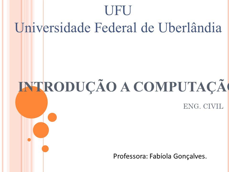 INTRODUÇÃO A COMPUTAÇÃO ENG. CIVIL Professora: Fabíola Gonçalves. UFU Universidade Federal de Uberlândia
