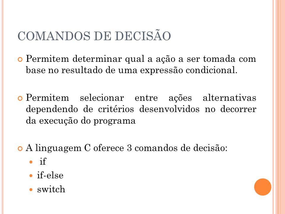 COMANDOS DE DECISÃO Permitem determinar qual a ação a ser tomada com base no resultado de uma expressão condicional. Permitem selecionar entre ações a