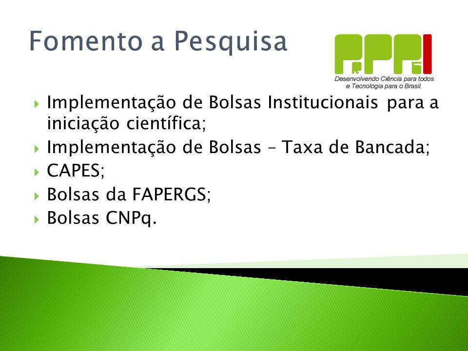 Fomento a Pesquisa Implementação de Bolsas Institucionais para a iniciação científica; Implementação de Bolsas – Taxa de Bancada; CAPES; Bolsas da FAP