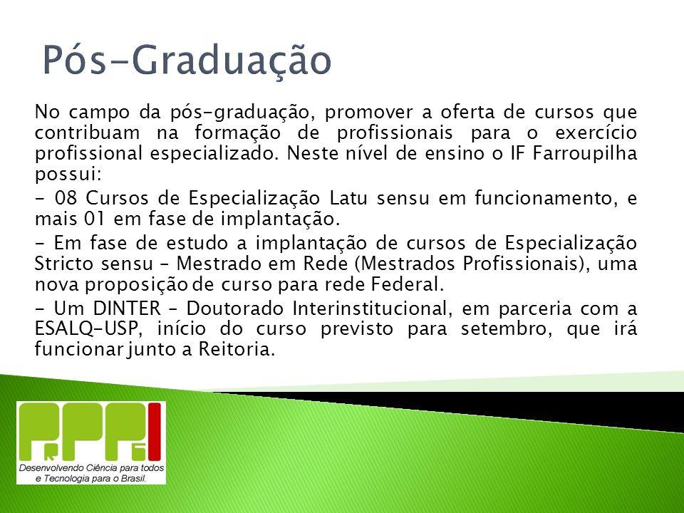 Pós-Graduação No campo da pós-graduação, promover a oferta de cursos que contribuam na formação de profissionais para o exercício profissional especia