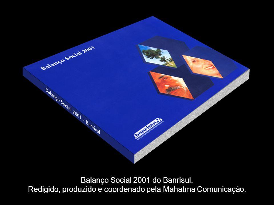 INÍCIOSAIR FOCO CENÁRIOS DE INOVAÇÃO PRODUTOS MAHATMA FUTURO DIFERENCIAIS MAHATMA FUTURO EXEMPLO DE METODOLOGIAS PRODUTOS EM COMERCIALIZAÇÃO MISSÃO Balanço Social 2001 do Banrisul.