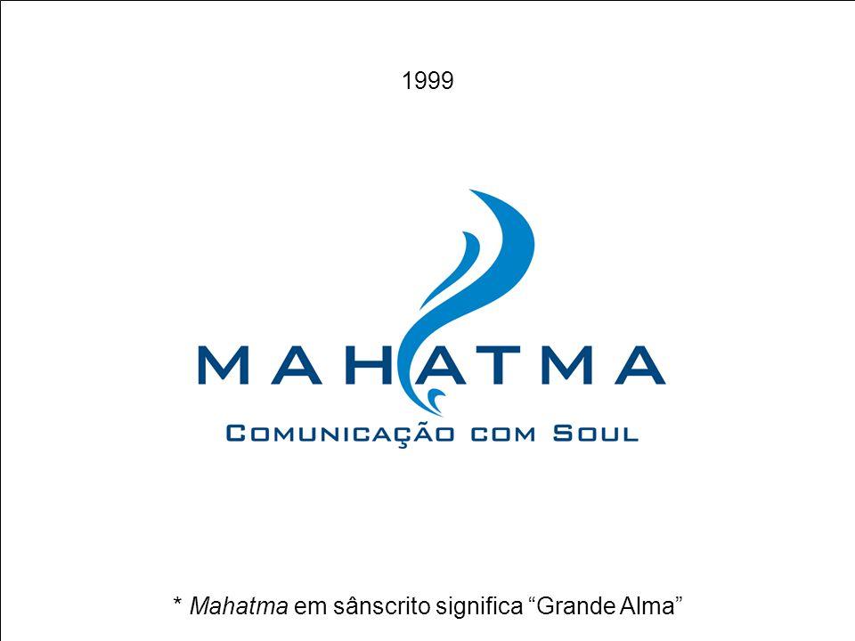 INÍCIOSAIR FOCO CENÁRIOS DE INOVAÇÃO PRODUTOS MAHATMA FUTURO DIFERENCIAIS MAHATMA FUTURO EXEMPLO DE METODOLOGIAS PRODUTOS EM COMERCIALIZAÇÃO MISSÃO * Mahatma em sânscrito significa Grande Alma 1999