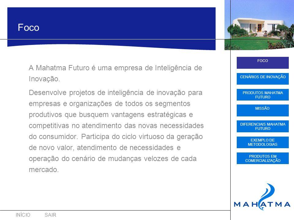 INÍCIOSAIR FOCO CENÁRIOS DE INOVAÇÃO PRODUTOS MAHATMA FUTURO DIFERENCIAIS MAHATMA FUTURO EXEMPLO DE METODOLOGIAS PRODUTOS EM COMERCIALIZAÇÃO MISSÃO Foco A Mahatma Futuro é uma empresa de Inteligência de Inovação.
