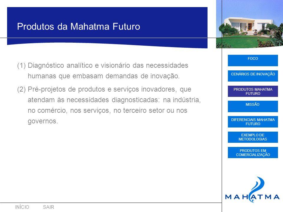 INÍCIOSAIR FOCO CENÁRIOS DE INOVAÇÃO PRODUTOS MAHATMA FUTURO DIFERENCIAIS MAHATMA FUTURO EXEMPLO DE METODOLOGIAS PRODUTOS EM COMERCIALIZAÇÃO MISSÃO Missão Mahatma Futuro Criar proativamente o futuro das sociedades participando do ciclo virtuoso da inovação, em conjunto com atores de todos os segmentos da atividade produtiva.
