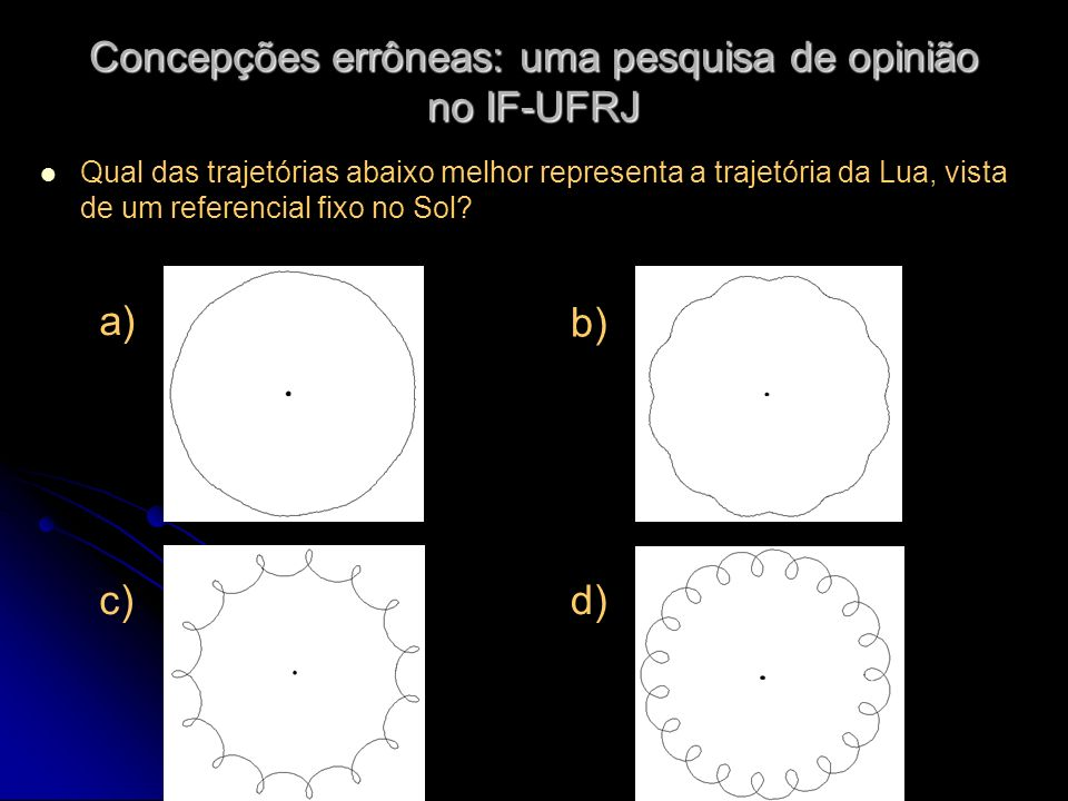 Concepções errôneas: uma pesquisa de opinião no IF-UFRJ Qual das trajetórias abaixo melhor representa a trajetória da Lua, vista de um referencial fix