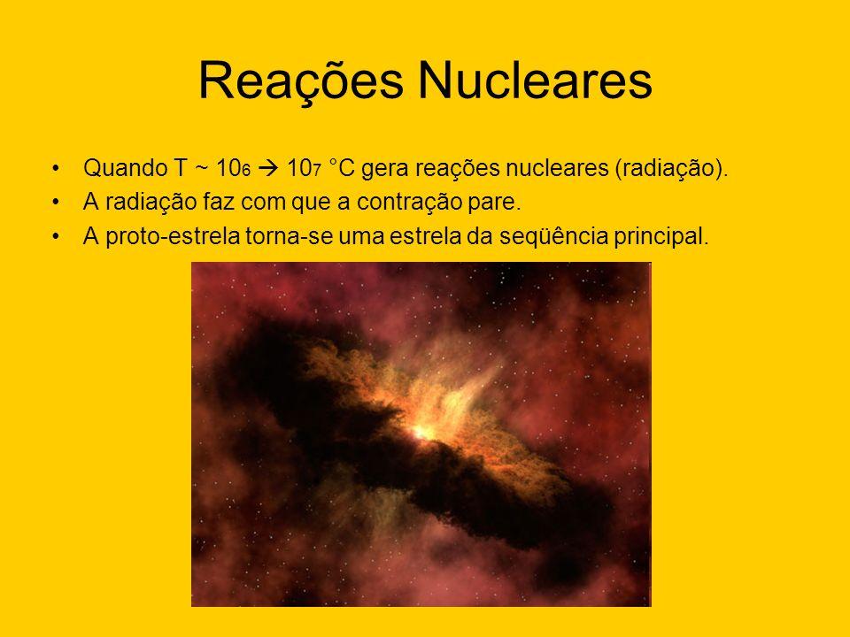 Reações Nucleares Quando T ~ 10 6 10 7 °C gera reações nucleares (radiação). A radiação faz com que a contração pare. A proto-estrela torna-se uma est