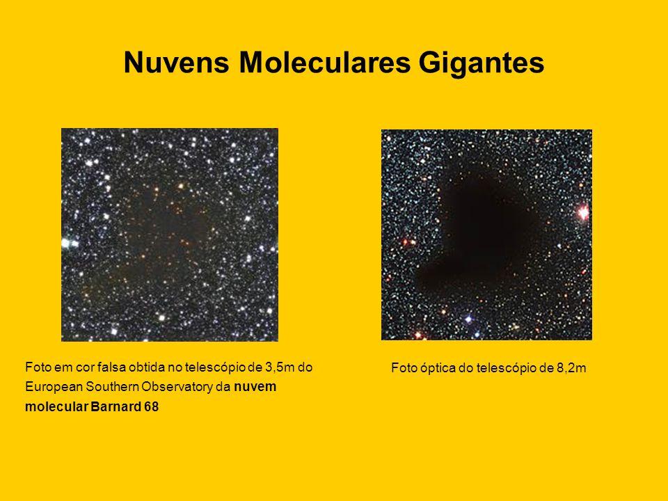 Nuvens Moleculares Gigantes Foto em cor falsa obtida no telescópio de 3,5m do European Southern Observatory da nuvem molecular Barnard 68 Foto óptica