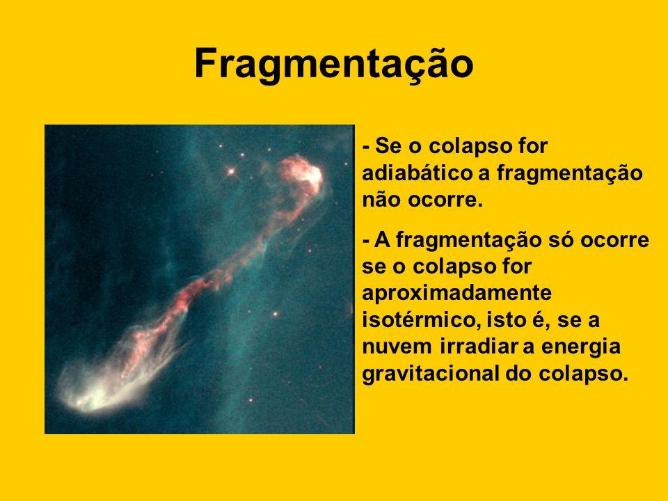 Fragmentação - Se o colapso for adiabático a fragmentação não ocorre. - A fragmentação só ocorre se o colapso for aproximadamente isotérmico, isto é,