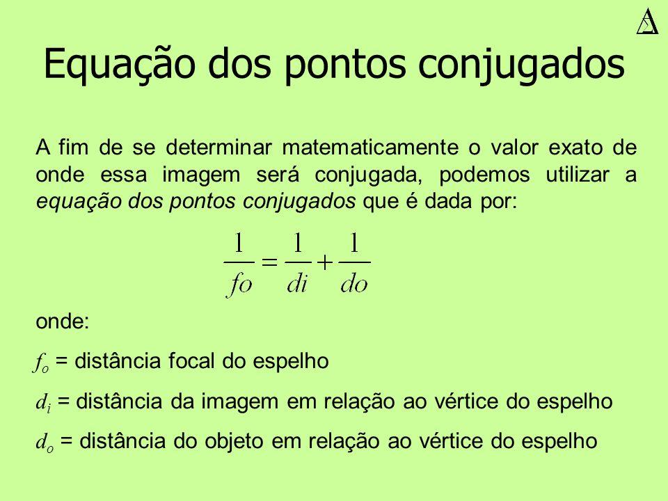 Equação dos pontos conjugados A fim de se determinar matematicamente o valor exato de onde essa imagem será conjugada, podemos utilizar a equação dos