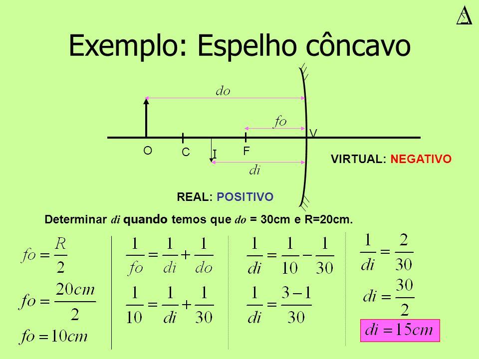 V F C O I REAL: POSITIVO VIRTUAL: NEGATIVO Exemplo: Espelho côncavo Determinar di quando temos que do = 30cm e R=20cm.