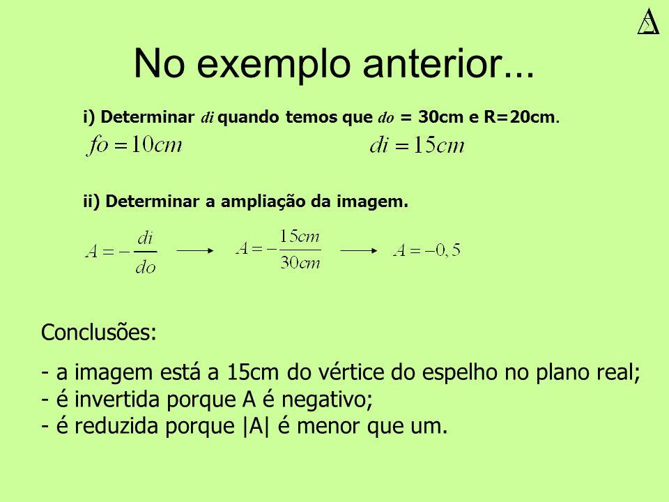No exemplo anterior... i) Determinar di quando temos que do = 30cm e R=20cm. ii) Determinar a ampliação da imagem. Conclusões: - a imagem está a 15cm