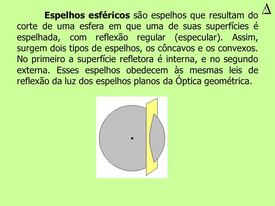 Espelhos esféricos são espelhos que resultam do corte de uma esfera em que uma de suas superfícies é espelhada, com reflexão regular (especular). Assi