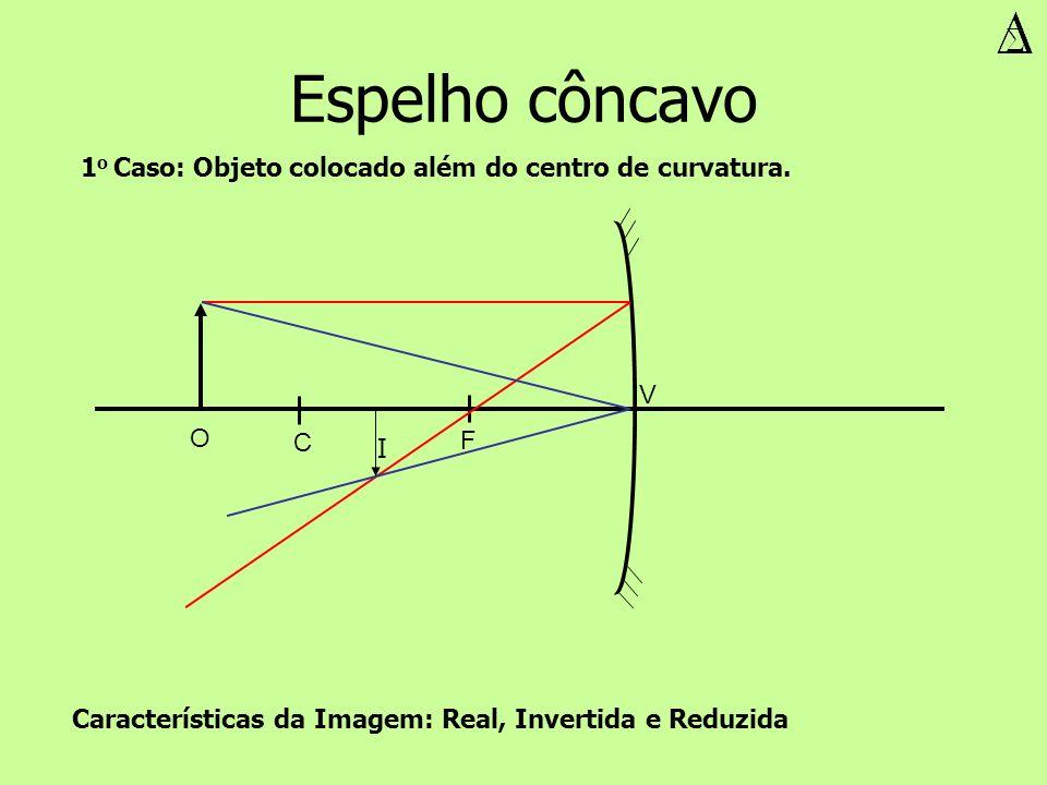 Espelho côncavo V F C O I Características da Imagem: Real, Invertida e Reduzida 1 o Caso: Objeto colocado além do centro de curvatura.
