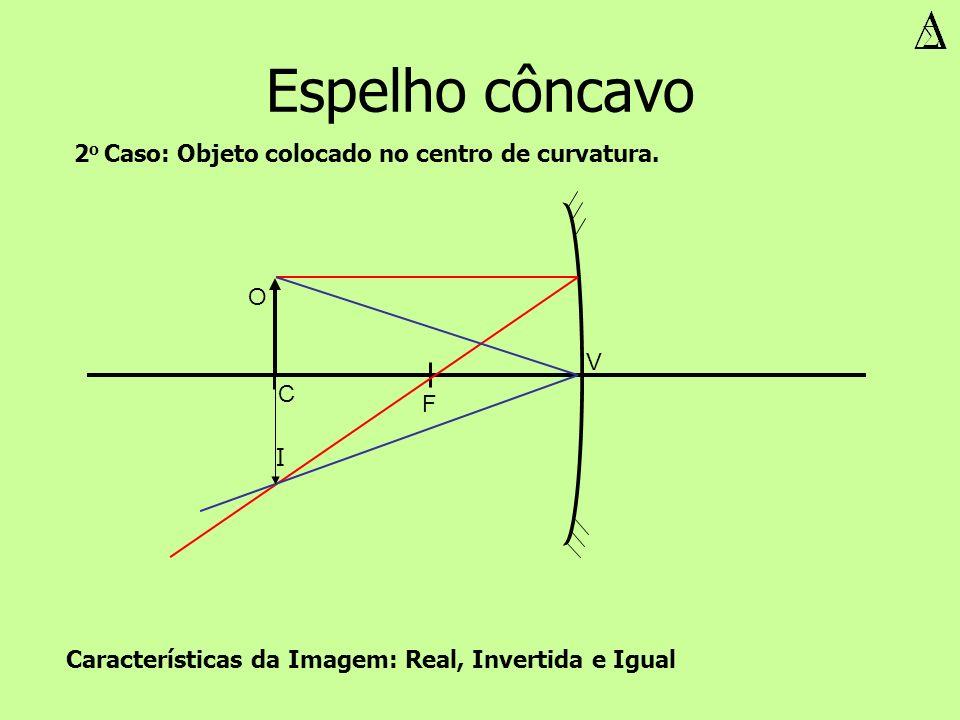 Espelho côncavo V F O I Características da Imagem: Real, Invertida e Igual 2 o Caso: Objeto colocado no centro de curvatura. C