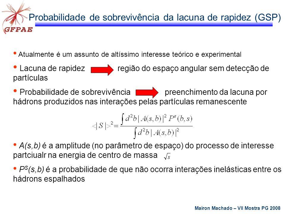 Probabilidade de sobrevivência da lacuna de rapidez (GSP) Atualmente é um assunto de altíssimo interesse teórico e experimental Lacuna de rapidez regi