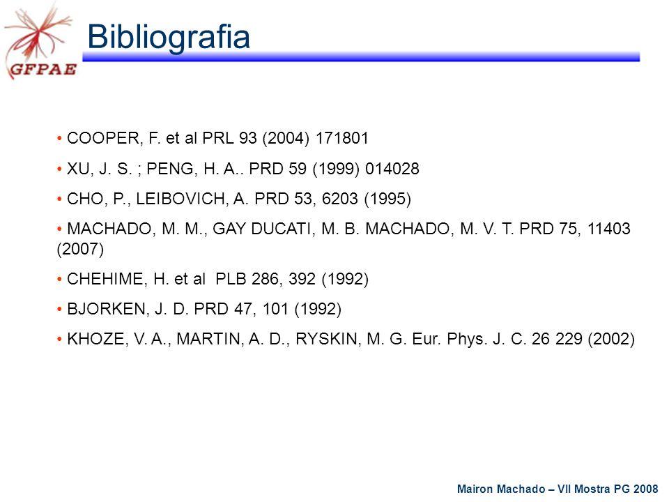 Mairon Machado – VII Mostra PG 2008 Bibliografia COOPER, F. et al PRL 93 (2004) 171801 XU, J. S. ; PENG, H. A.. PRD 59 (1999) 014028 CHO, P., LEIBOVIC