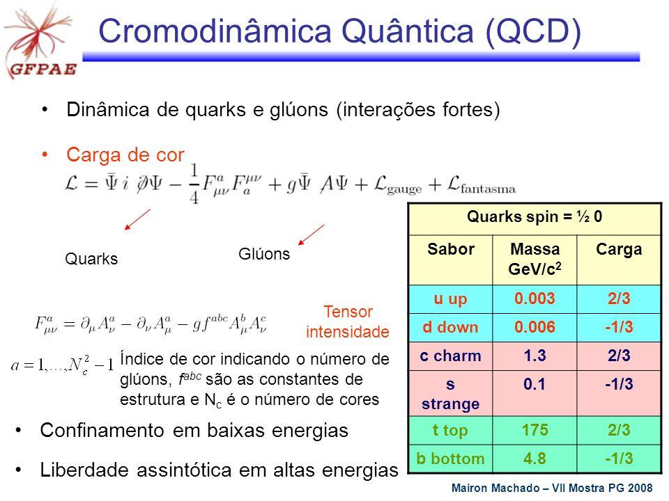 Pártons Nucleons são compostos por pártons Nucleons compostos por três quarks chamados quarks de valência Resultados experimentais mostram que parte do momentum total do nucleon é portada pelos quarks Momentum faltante atribuído aos glúons Responsáveis pela ligação dos quarks Mairon Machado – VII Mostra PG 2008