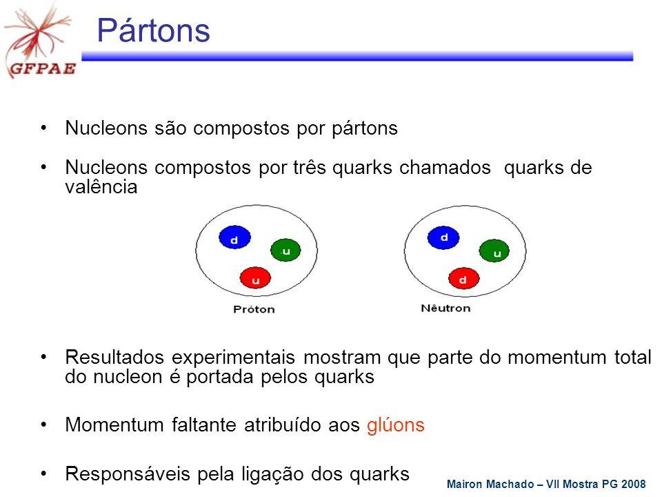 f a/IP é a distribuição de pártons no Pomeron g(x IP ) é o fluxo de Pomeron Diffractive DIS at HERA DIS inclusivo: Prova a estrutura partônica do próton DIS difrativo: Prova a estrutura do Pomeron X X Q 2 : 4-momentum trocado W: p energia de centro de massa x: fração de momentum p carregado pelo quark x IP : fração de momentum p carregado pelo Pomeron (IP) β: fração de momentum IP carregado pelo quark Modelo Ingelman-Schlein Mairon Machado – VII Mostra PG 2008