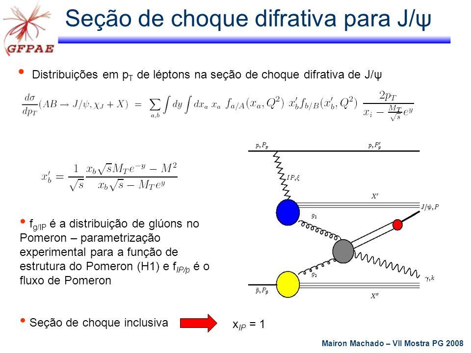Largura de decaimento parcial = 0.05084 e c 2 =2/3; M ψ = 3.096 GeV; α s = g s 2 / 4π Seções de choque singleto e octeto Mairon Machado – VII Mostra PG 2008