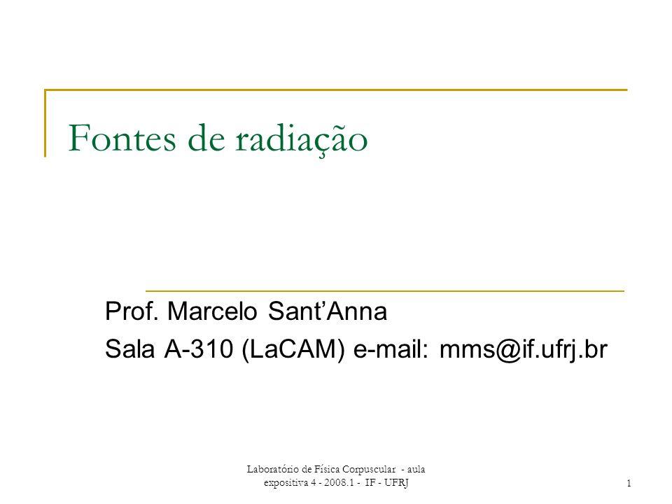 Laboratório de Física Corpuscular - aula expositiva 4 - 2008.1 - IF - UFRJ1 Fontes de radiação Prof.