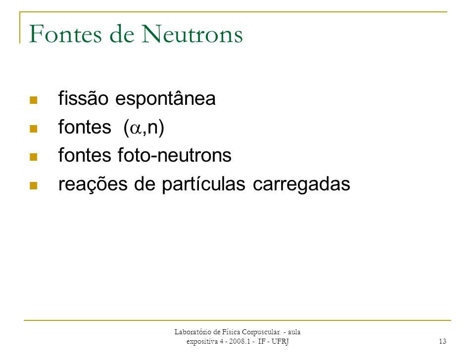 Laboratório de Física Corpuscular - aula expositiva 4 - 2008.1 - IF - UFRJ 13 Fontes de Neutrons fissão espontânea fontes (,n) fontes foto-neutrons reações de partículas carregadas