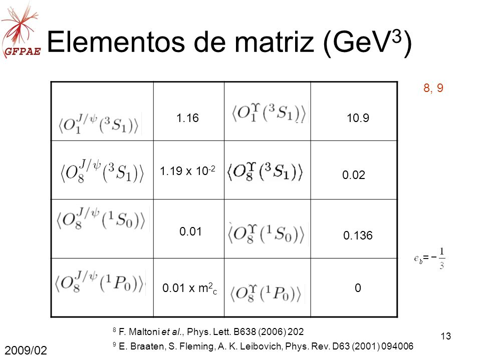 13 Elementos de matriz (GeV 3 ) 2009/02 1.16 1.19 x 10 -2 0.01 0.01 x m 2 c 10.9 0.02 0.136 0 8, 9 9 E.
