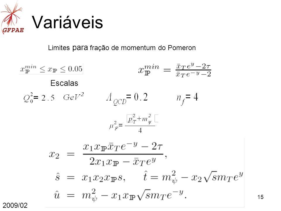 15 Variáveis 2009/02 Limites para fração de momentum do Pomeron Escalas