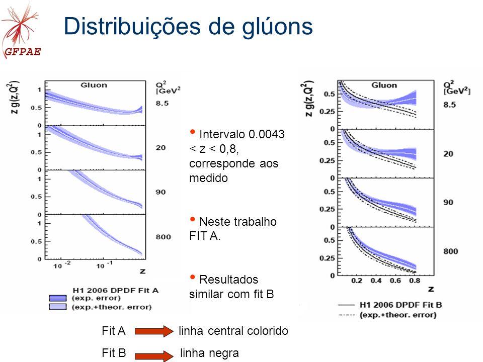 Distribuições de glúons Intervalo 0.0043 < z < 0,8, corresponde aos medido Neste trabalho FIT A.