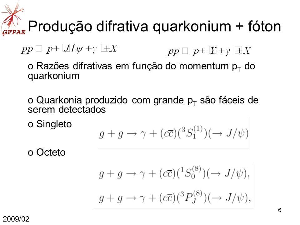 7 Produção J/ψ+γ Non-relativistic Quantum Chromodynamics (NRQCD) Fusão de glúons domina perante fusão de quark Seção de choque LO obtida pela convolução da seção de choque partônica com a função de distribuição de glúons no próton (PDF) g(x,µ F ) MRST 2001 LO sem diferença significativa para MRST 2002 LO e MRST 2003 LO NLO 4 expansão em α s correções virtuais (1) e reais (3) 2009/02 4 J.