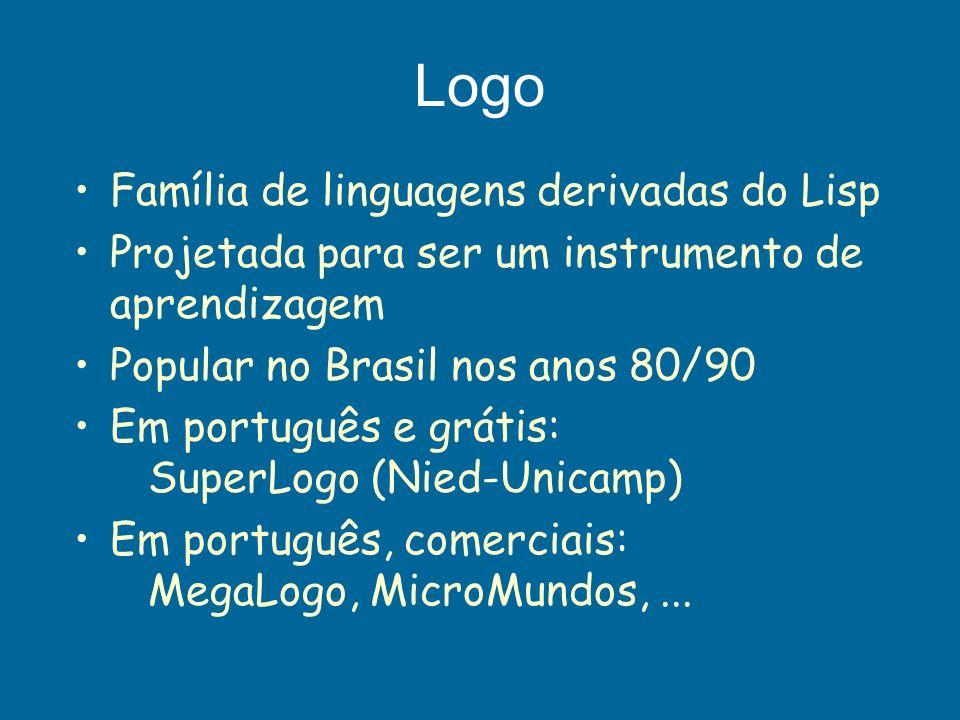 Logo Família de linguagens derivadas do Lisp Projetada para ser um instrumento de aprendizagem Popular no Brasil nos anos 80/90 Em português e grátis: