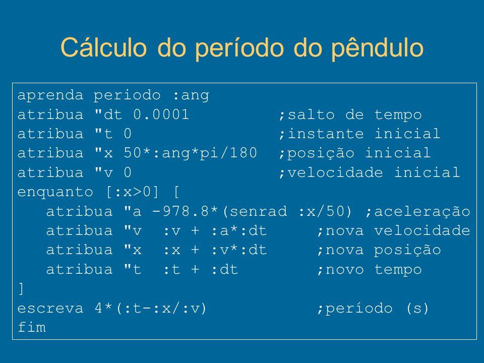 Cálculo do período do pêndulo aprenda periodo :ang atribua