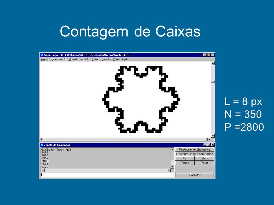 Contagem de Caixas L = 8 px N = 350 P =2800