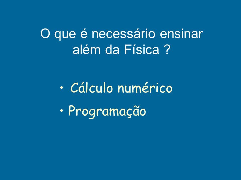 Cálculo numérico Programação O que é necessário ensinar além da Física ?