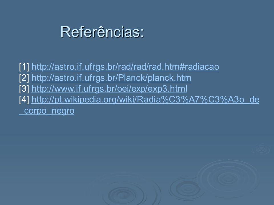 Referências: [1] http://astro.if.ufrgs.br/rad/rad/rad.htm#radiacaohttp://astro.if.ufrgs.br/rad/rad/rad.htm#radiacao [2] http://astro.if.ufrgs.br/Planc