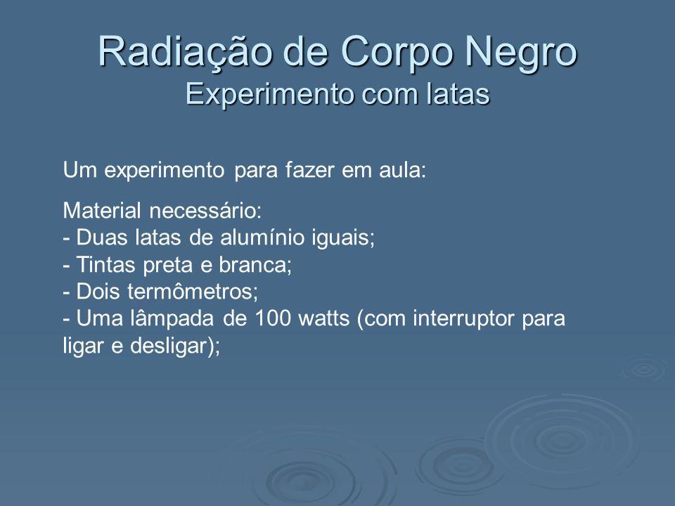 Radiação de Corpo Negro Experimento com latas Um experimento para fazer em aula: Material necessário: - Duas latas de alumínio iguais; - Tintas preta