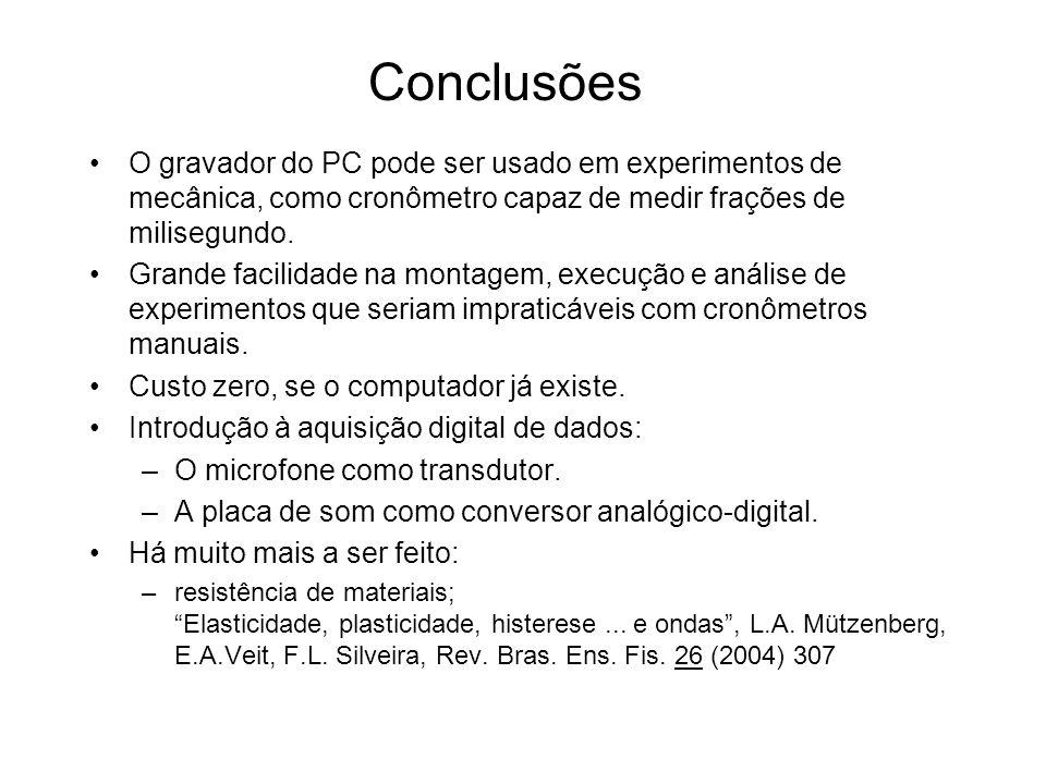 O gravador do PC pode ser usado em experimentos de mecânica, como cronômetro capaz de medir frações de milisegundo. Grande facilidade na montagem, exe
