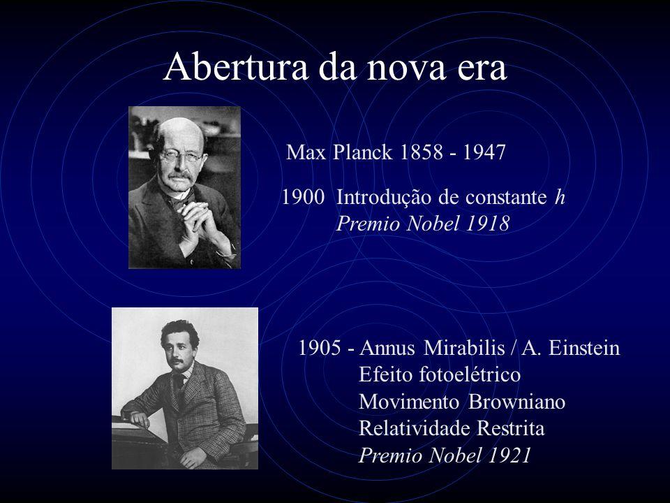 Abertura da nova era Max Planck 1858 - 1947 1900 Introdução de constante h Premio Nobel 1918 1905 - Annus Mirabilis / A. Einstein Efeito fotoelétrico