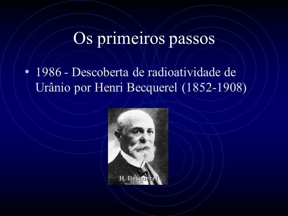 Os primeiros passos 1986 - Descoberta de radioatividade de Urânio por Henri Becquerel (1852-1908)
