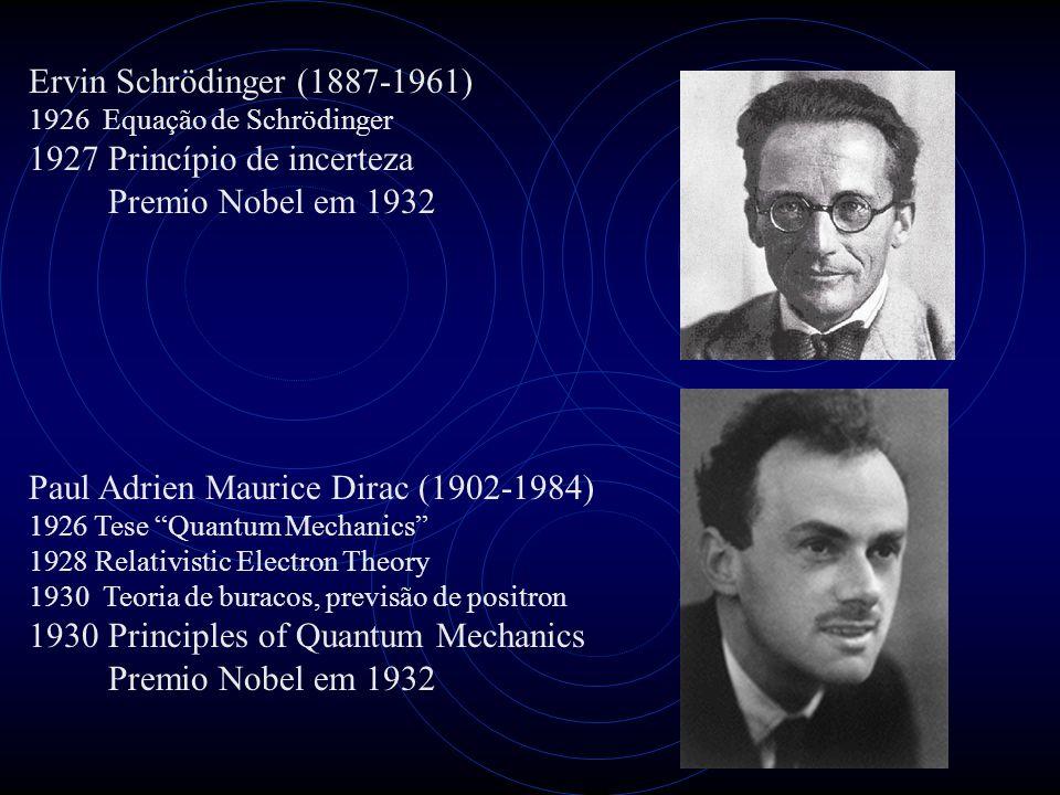 Ervin Schrödinger (1887-1961) 1926 Equação de Schrödinger 1927 Princípio de incerteza Premio Nobel em 1932 Paul Adrien Maurice Dirac (1902-1984) 1926