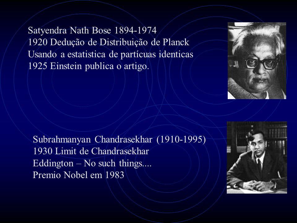 Satyendra Nath Bose 1894-1974 1920 Dedução de Distribuição de Planck Usando a estatistica de partícuas identicas 1925 Einstein publica o artigo. Subra