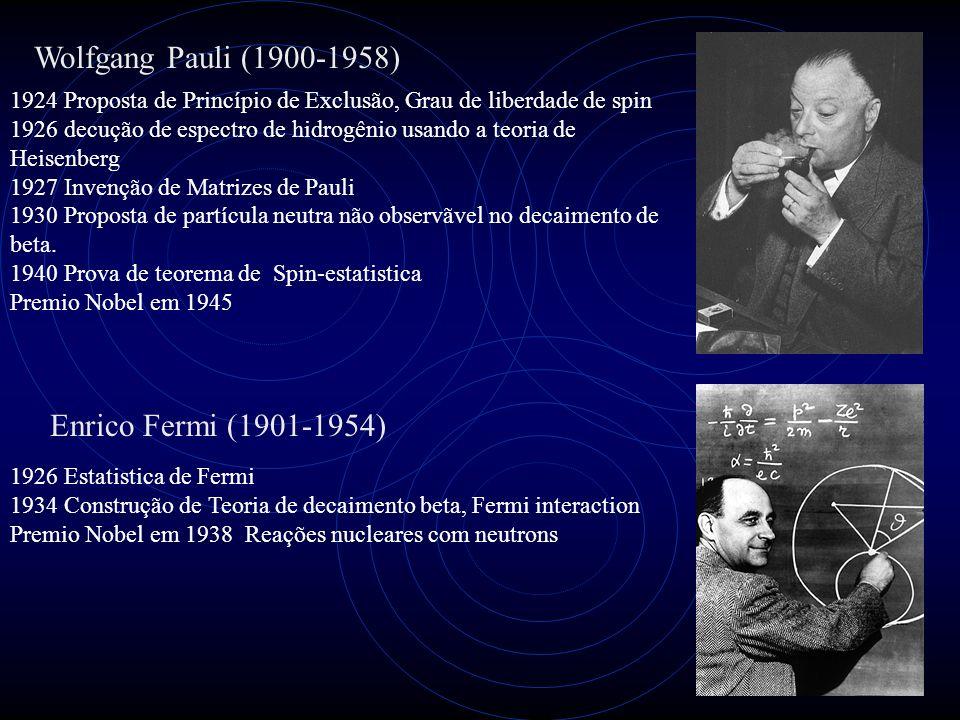 Wolfgang Pauli (1900-1958) 1924 Proposta de Princípio de Exclusão, Grau de liberdade de spin 1926 decução de espectro de hidrogênio usando a teoria de