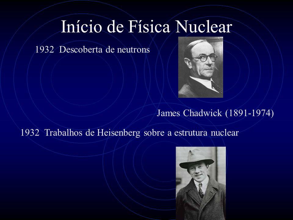 Início de Física Nuclear 1932 Descoberta de neutrons 1932 Trabalhos de Heisenberg sobre a estrutura nuclear James Chadwick (1891-1974)