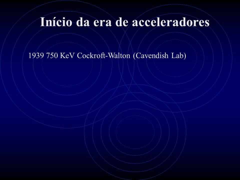 Início da era de acceleradores 1939 750 KeV Cockroft-Walton (Cavendish Lab)