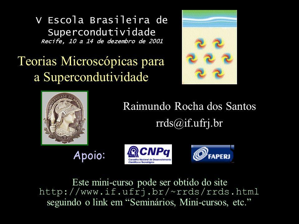 Esquema do mini-curso I.Supercondutividade convencional: vínculos experimentais II.Condução em Metais III.Interação elétron-elétron IV.Teoria BCS V.Supercondutores de alta temperatura VI.Conclusões