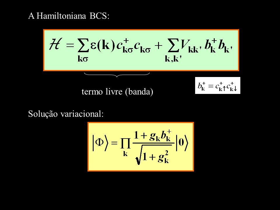 termo livre (banda) A Hamiltoniana BCS: Solução variacional: