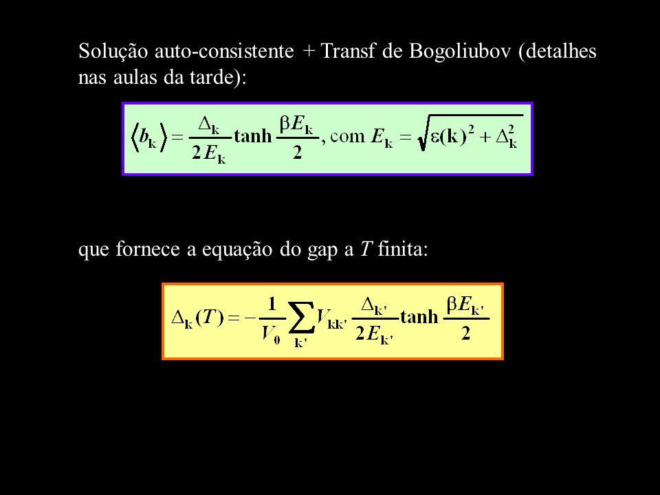 que fornece a equação do gap a T finita: Solução auto-consistente + Transf de Bogoliubov (detalhes nas aulas da tarde):
