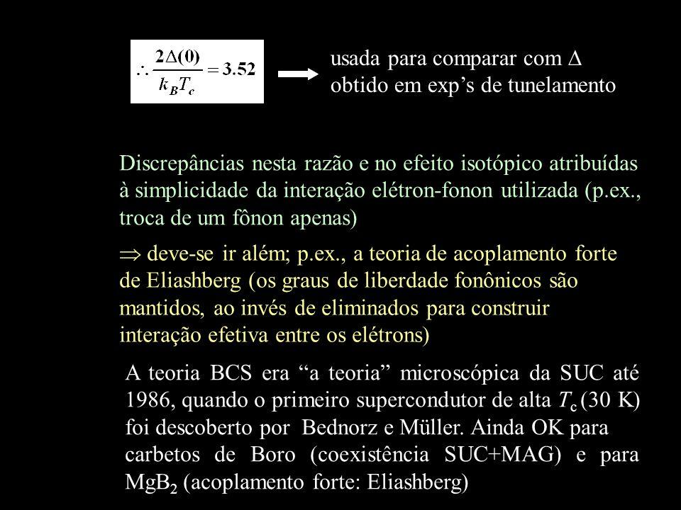 usada para comparar com obtido em exps de tunelamento Discrepâncias nesta razão e no efeito isotópico atribuídas à simplicidade da interação elétron-f