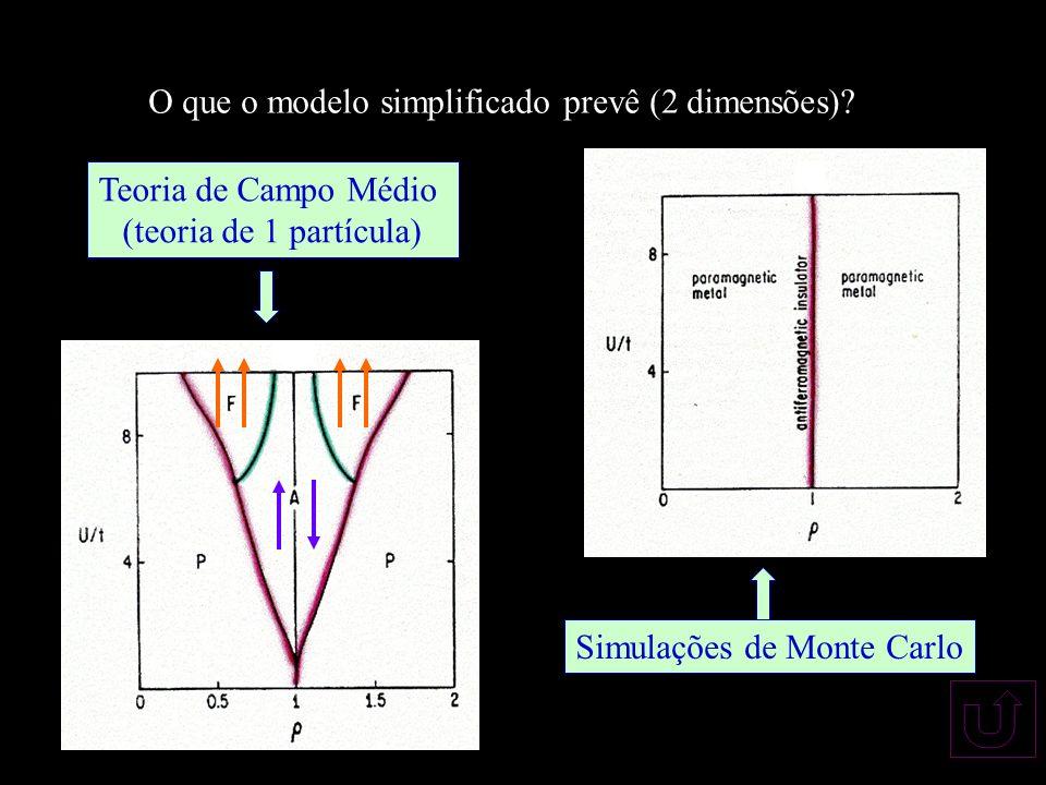 O que o modelo simplificado prevê (2 dimensões)? Teoria de Campo Médio (teoria de 1 partícula) Simulações de Monte Carlo